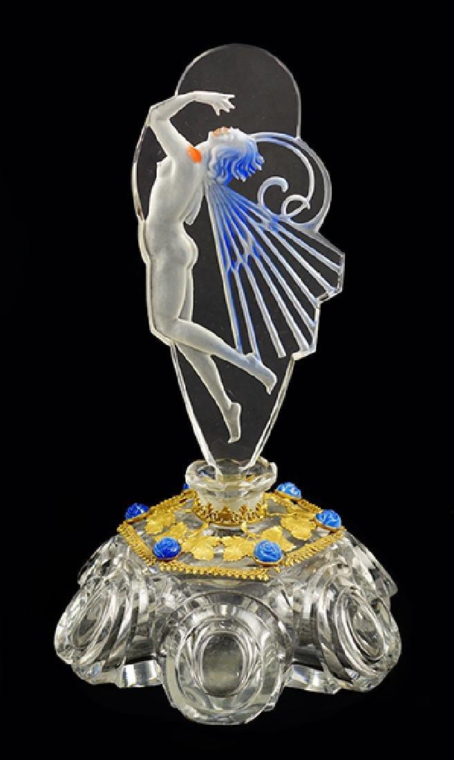 A 1920s Czechoslovakian Art Deco Perfume Bottle.