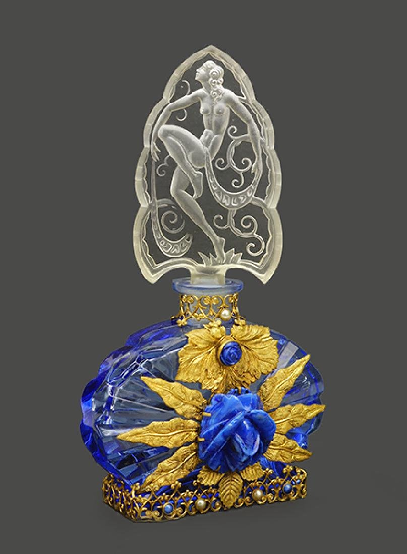 A 1920s Czechoslovakian Blue Crystal Perfume Bottle.