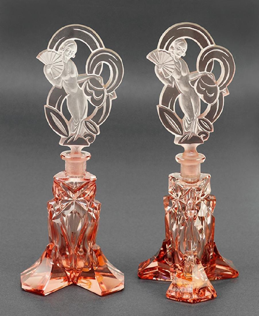 Two Irice Czechoslovakian Pink Crystal Perfume Bottles.