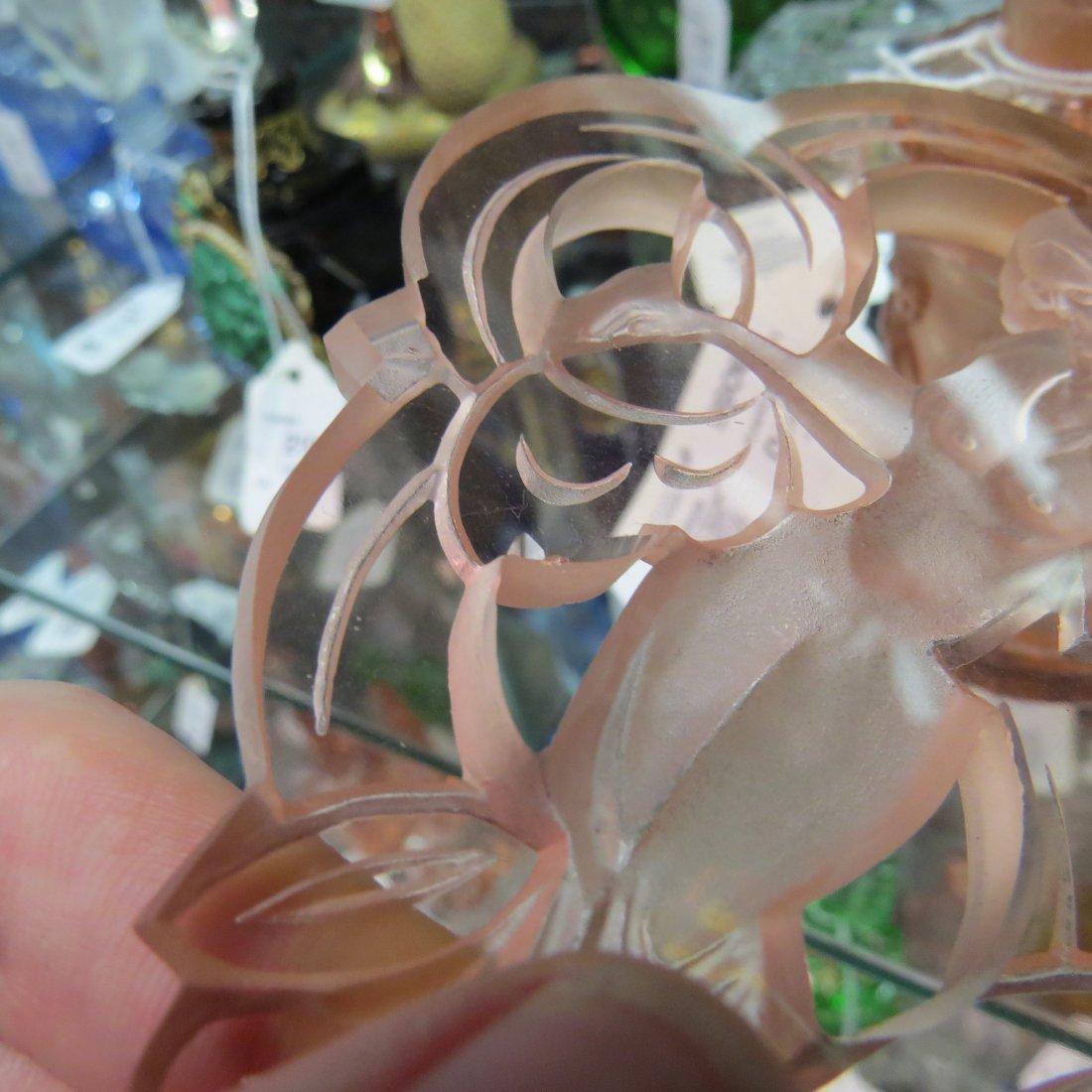 Two Irice Czechoslovakian Pink Crystal Perfume Bottles. - 3