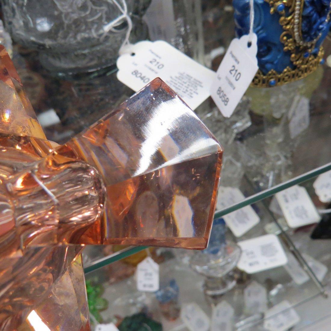 Two Irice Czechoslovakian Pink Crystal Perfume Bottles. - 6