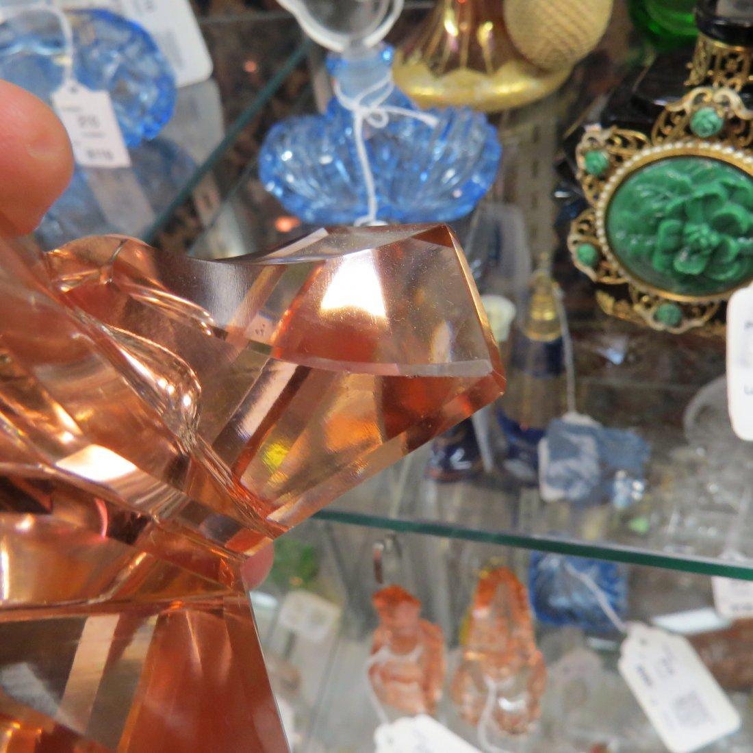 Two Irice Czechoslovakian Pink Crystal Perfume Bottles. - 8