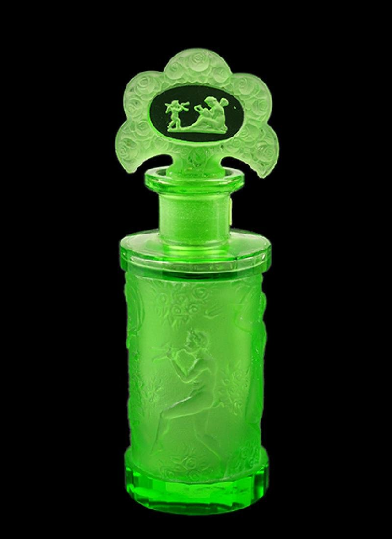 A 1930s Hoffmann Czechoslovakian Green Crystal Perfume