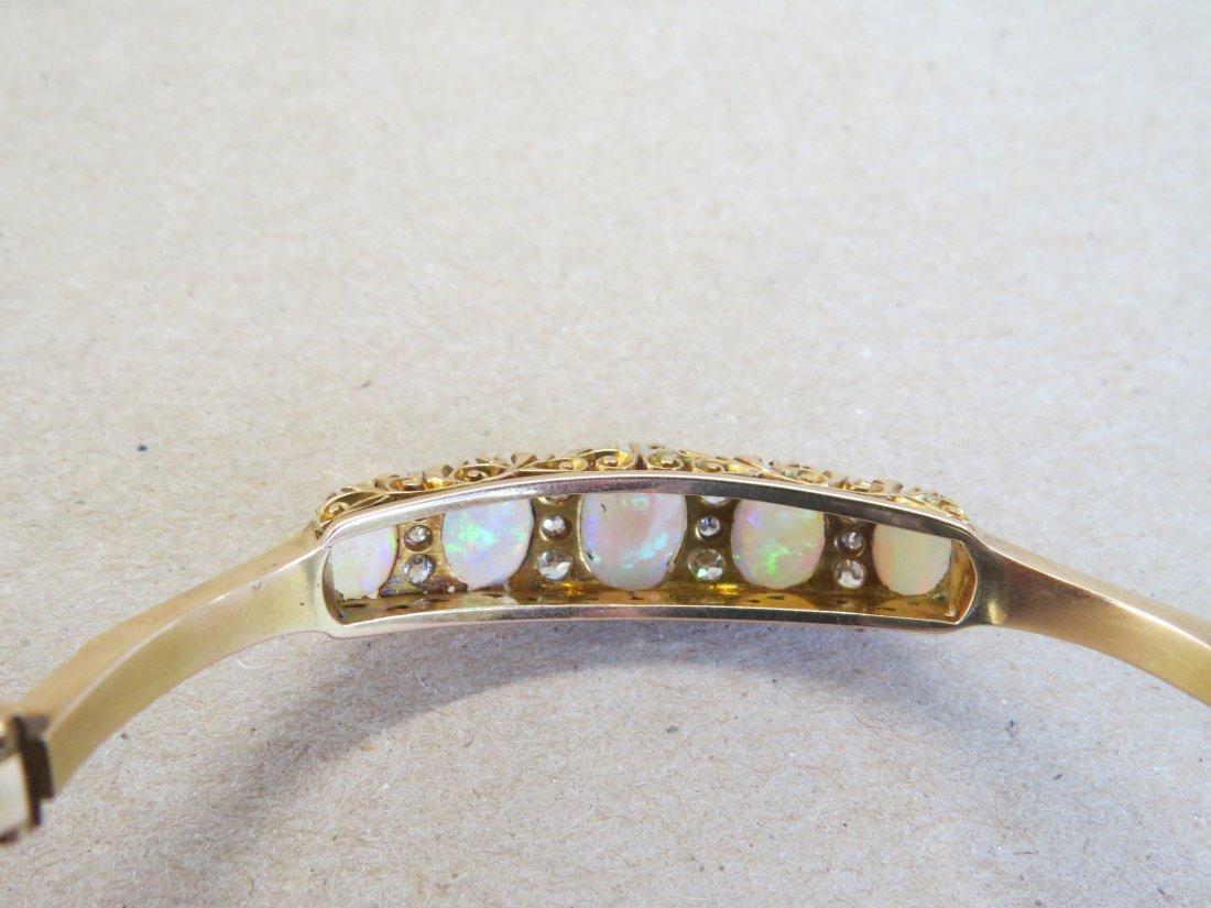 An English Opal, Diamond, and 15 Karat Yellow Gold - 6