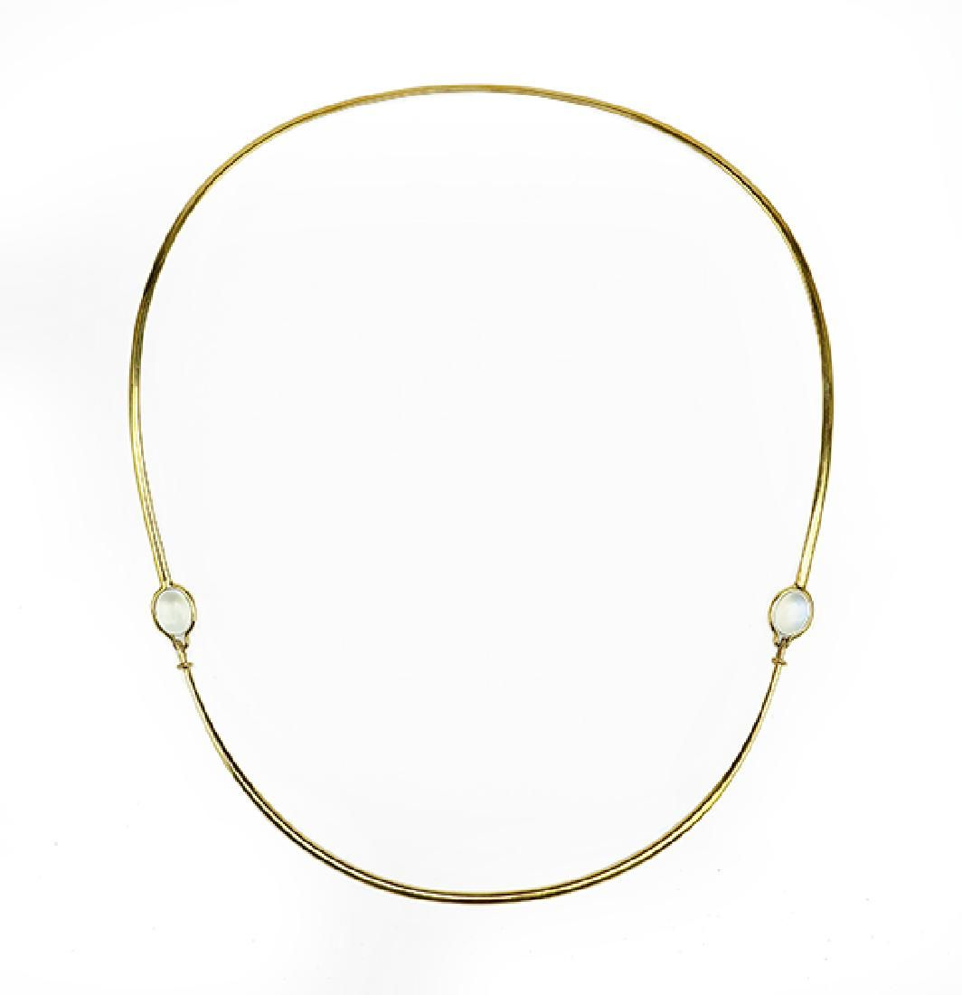 A Moonstone and 18 Karat Yellow Gold Necklace.