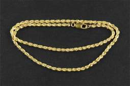A 14 Karat Yellow Gold Rope Necklace