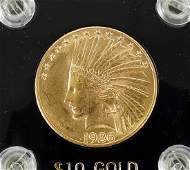 1926 $10 Indian Head Gold Coin.