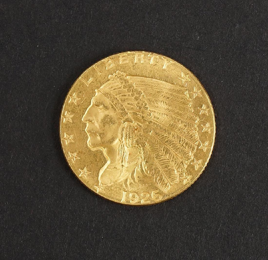 1926 U.S. $2.5 Indian Head Quarter Eagle Gold Coin.