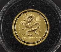 2000 Australia 1/4 oz Gold Lunar Dragon.