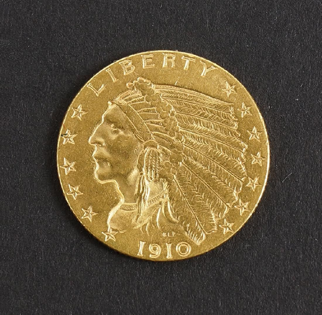 1910 US $2.5 INDIAN HEAD GOLD COIN.