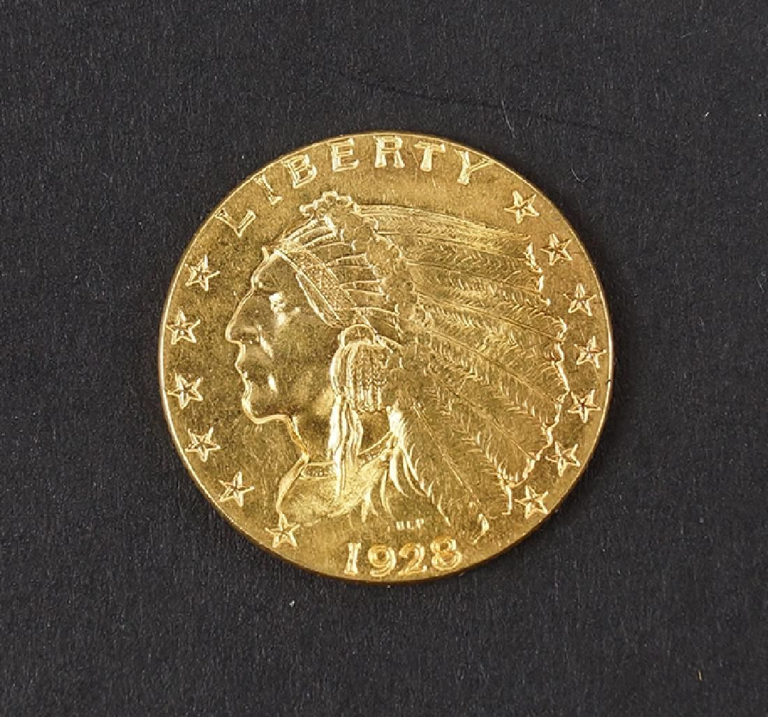 1928 US $2.5 INDIAN HEAD GOLD COIN.