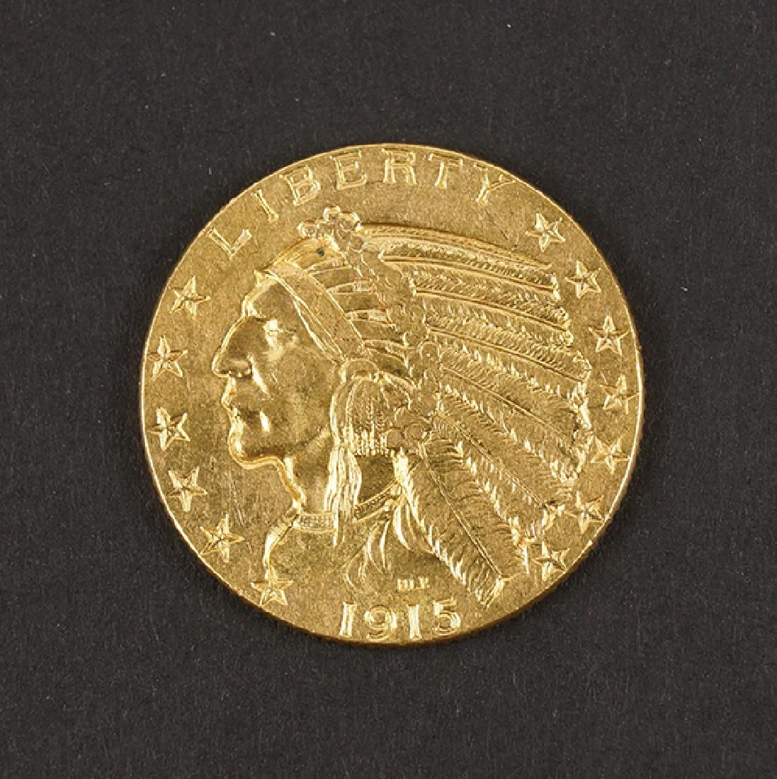 1915 US $5 INDIAN HEAD GOLD COIN.