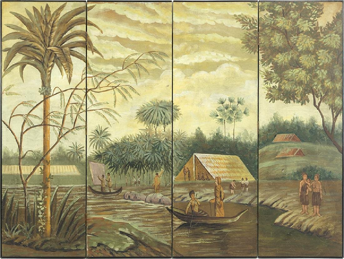 A Painted Wood Four-Panel Screen.
