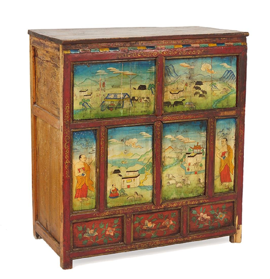 A Thai Painted Wood Chest.