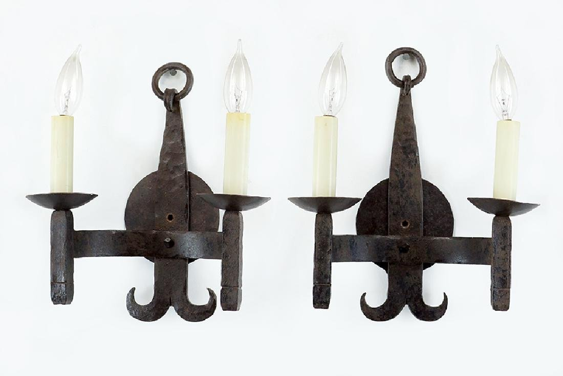 A Pair of Dennis and Leen Two-Light Wall Sconces.