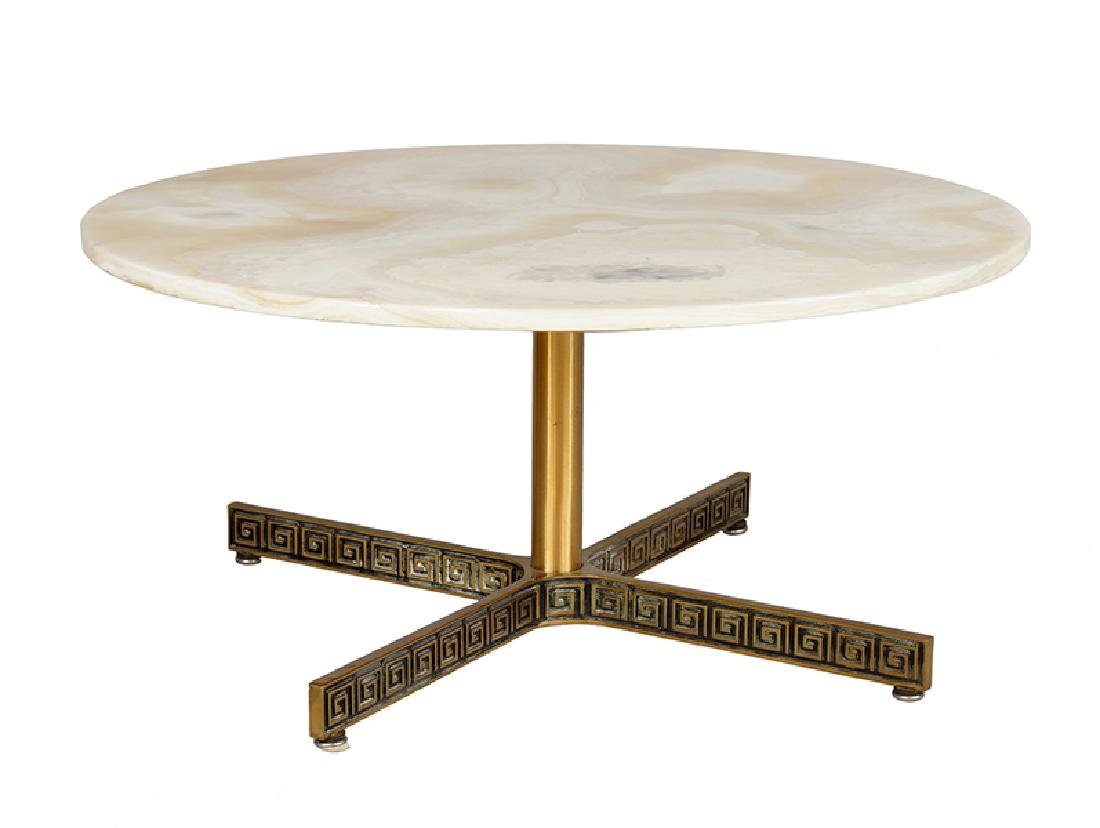 A Bronze and Onyx Cocktail Table.