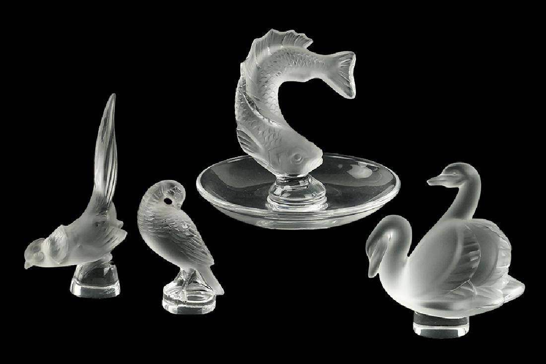A Collection of Lalique Frosted Glass Figures.