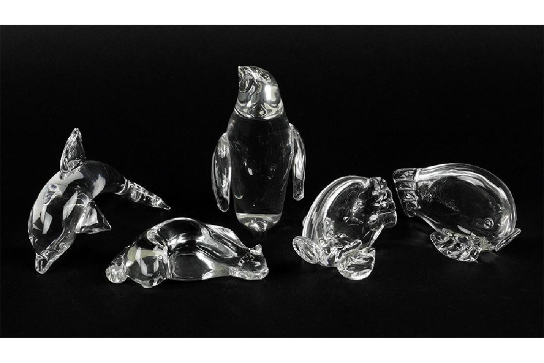 A Collection Of Steuben Glass Animals.