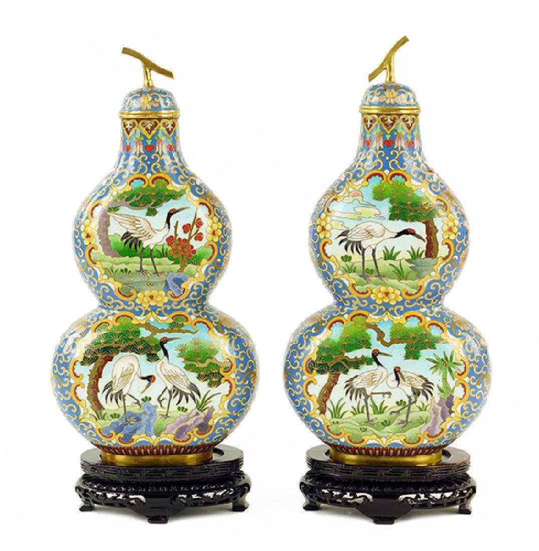 A Pair of Chinese Cloisonne Double Gourd Covered Vases.