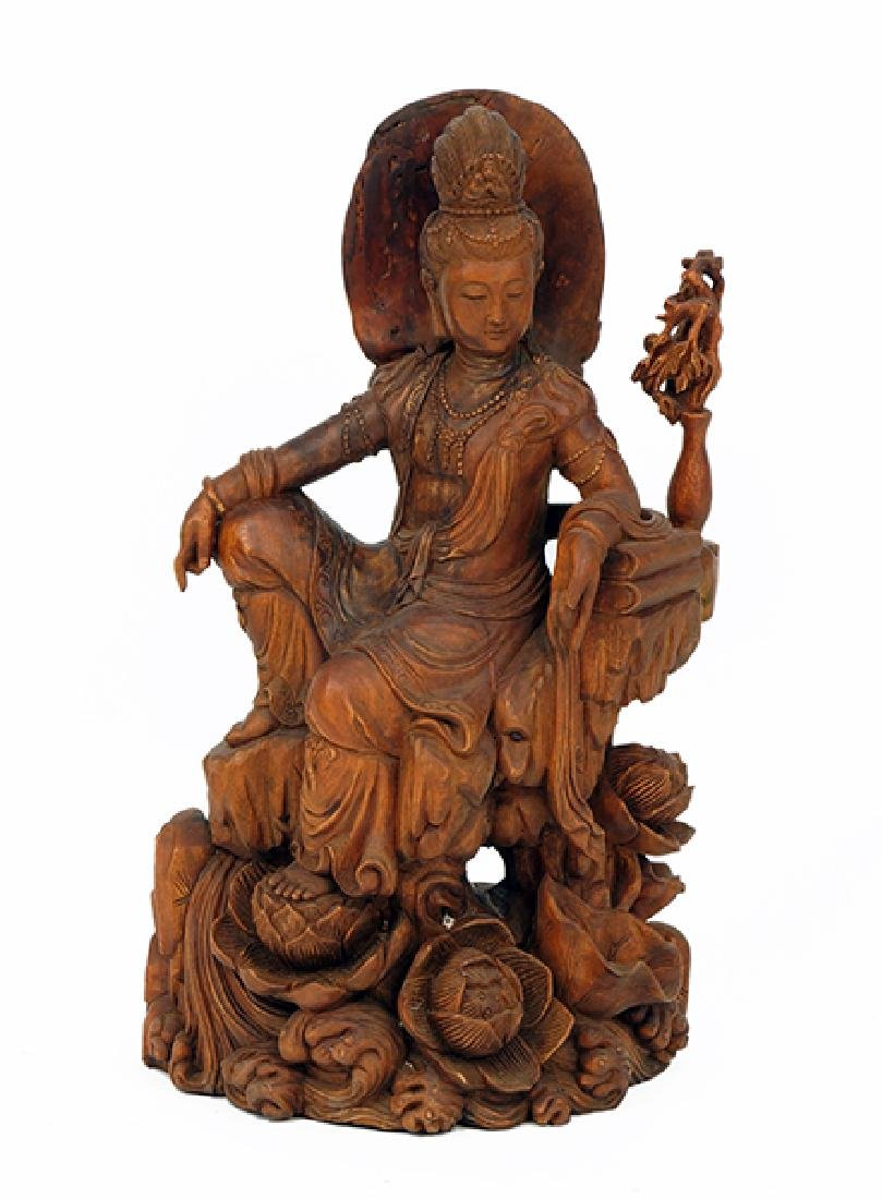 Chinese Carved Wood Seated Quan Yin.