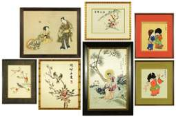 A Collection of Asian Framed Items.