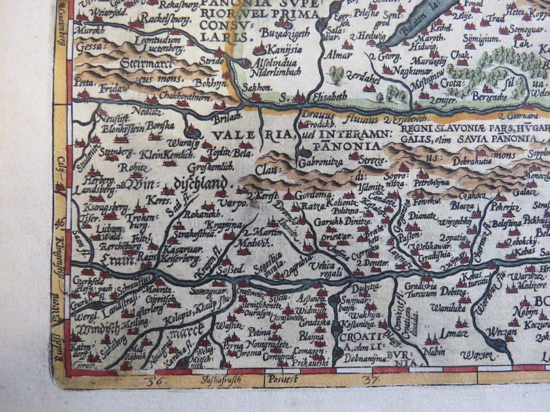 Abraham Ortelius (Belgian, 1527-1598) Map of Hungary. - 6