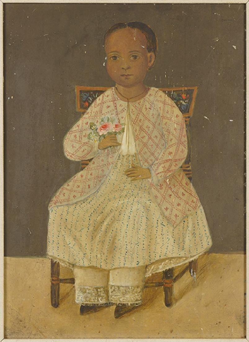 Spanish Colonial School (19th century) Little Girl with