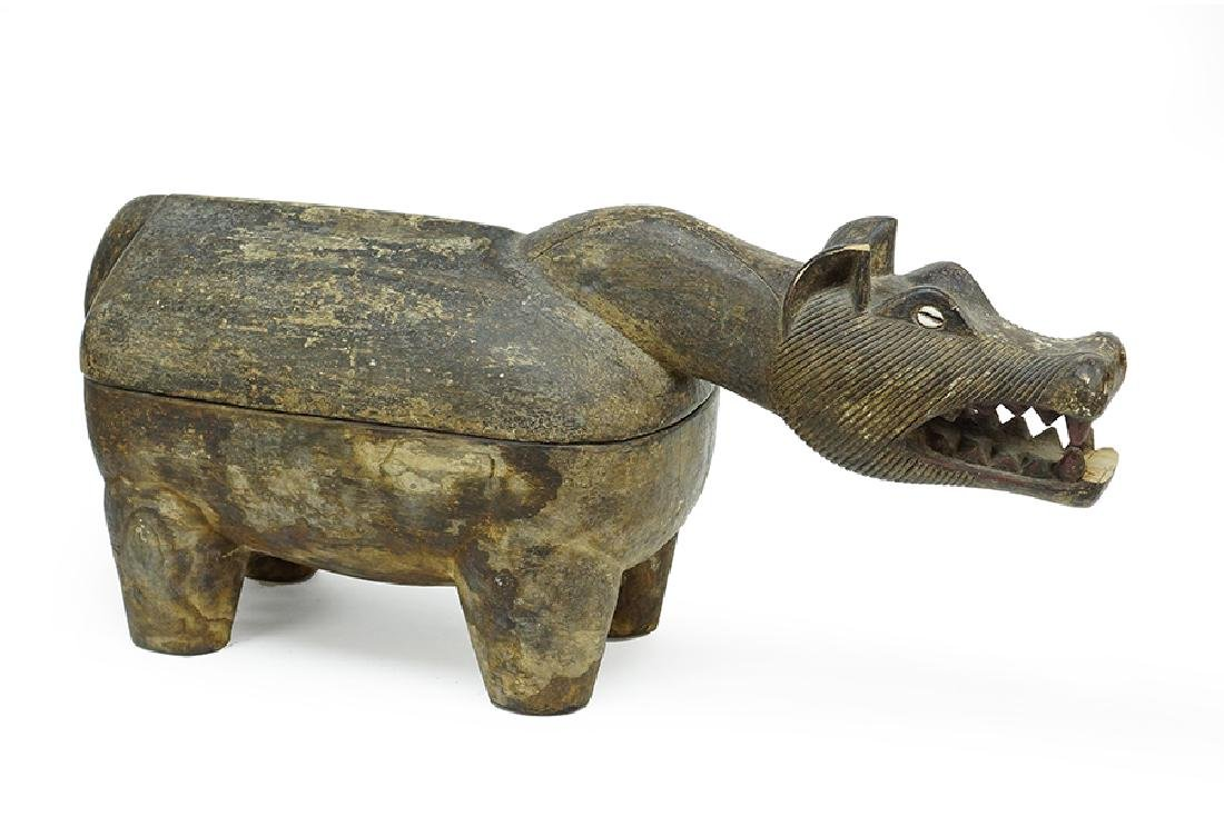 A Carved Wood Animal Form Container.