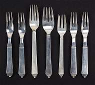 A Collection of Georg Jensen Sterling Silver Forks.