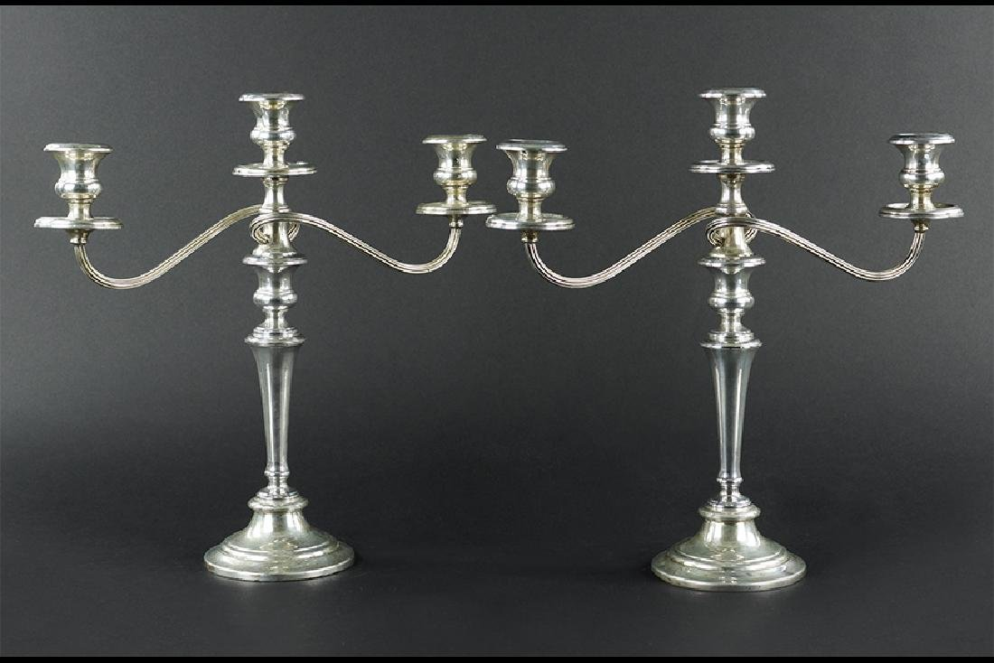 A Pair of Gorham Sterling Silver Candelabra.