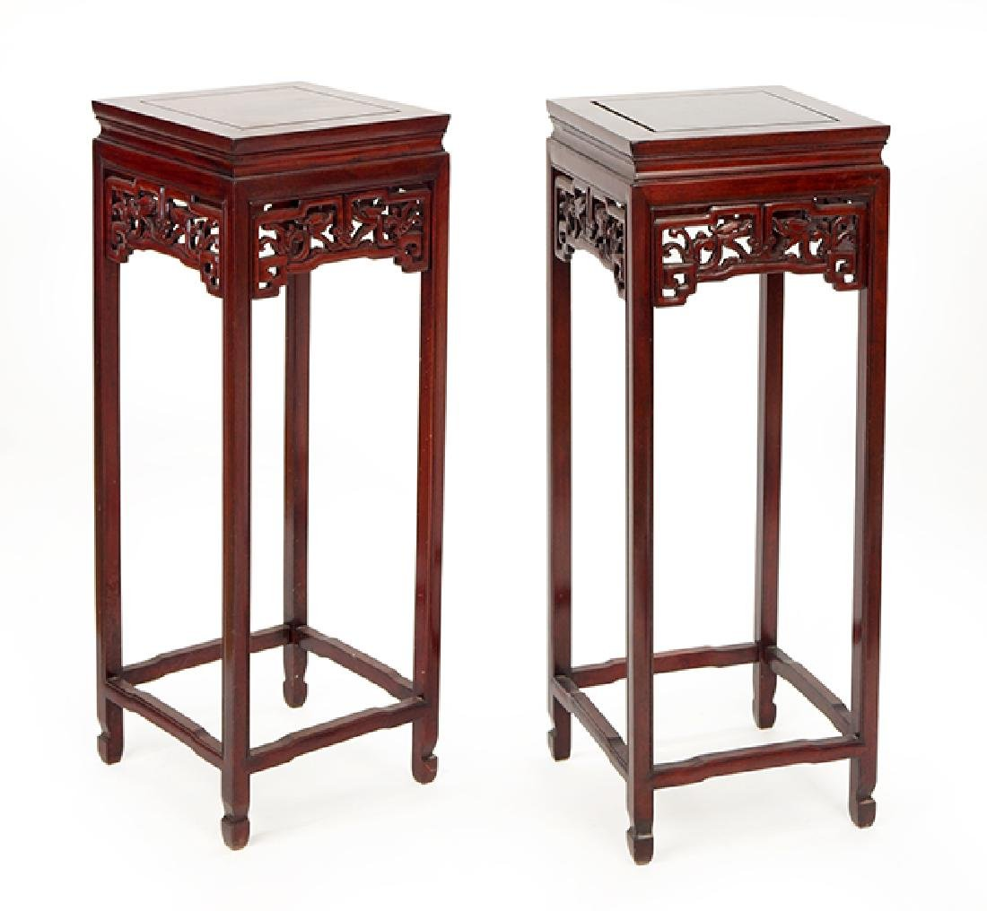 A Pair of Chinese Rosewood Pedestals.