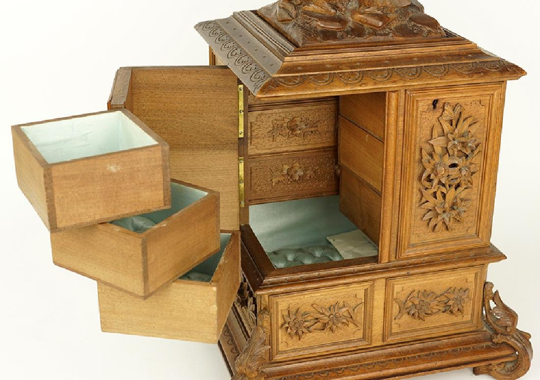 A Black Forest Carved Jewelry Chest. - 2