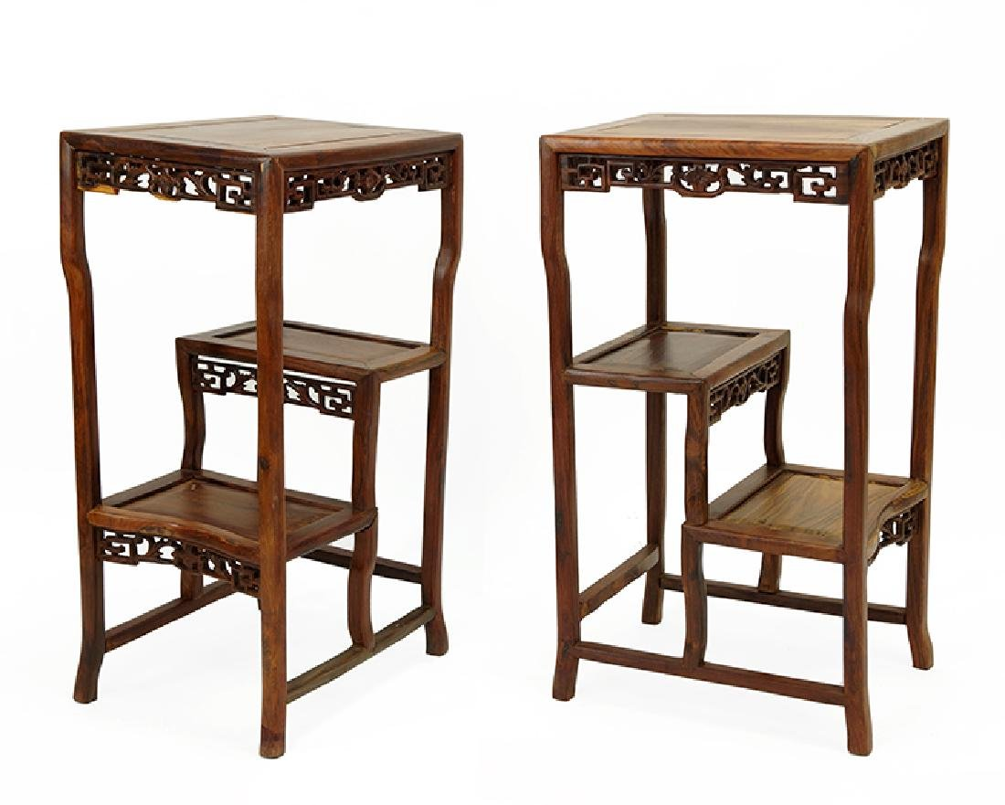 A Pair of Chinese Carved Hardwood Etageres.