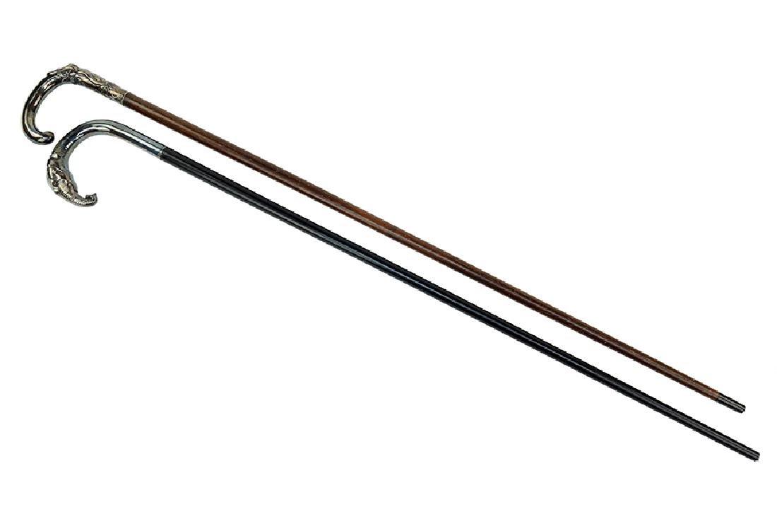 A German Silver Handled Walking Stick / Cane.