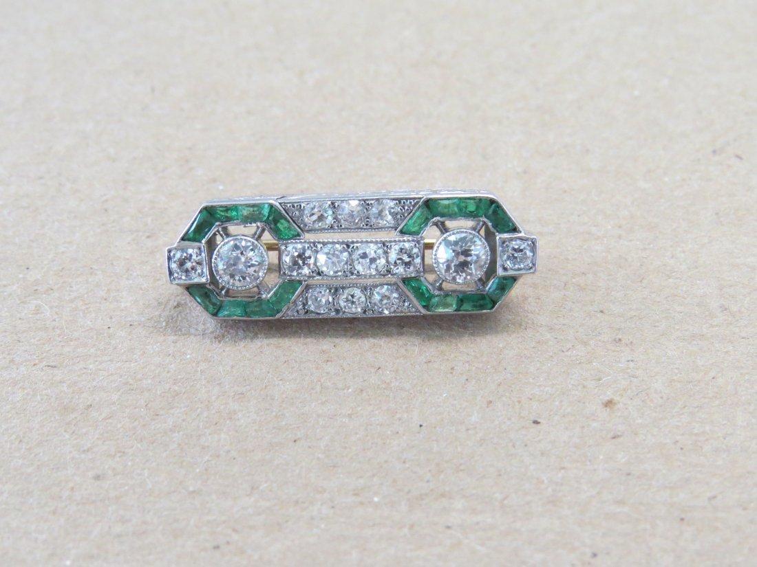 An Art Deco Diamond & Emerald Brooch. - 2