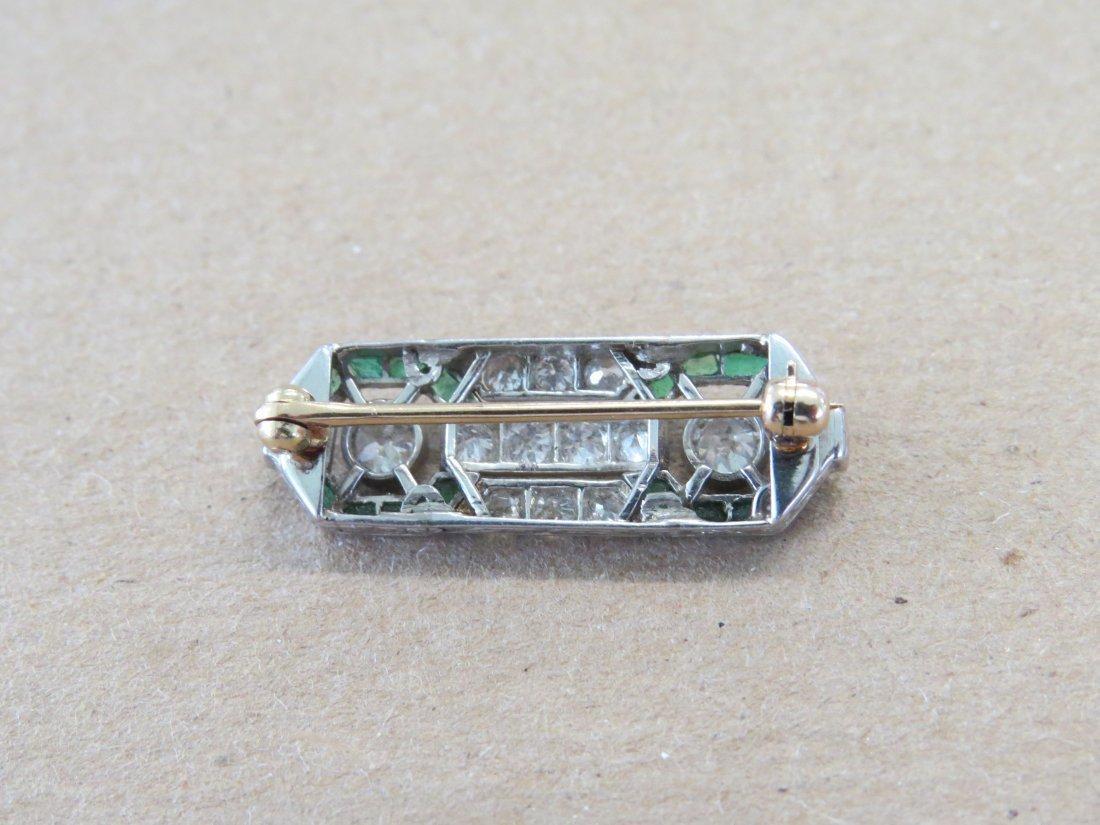 An Art Deco Diamond & Emerald Brooch. - 3