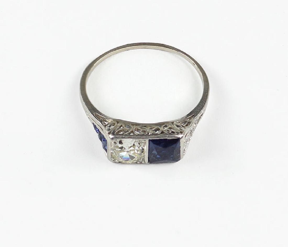 An Art Deco Diamond & Sapphire Ring.