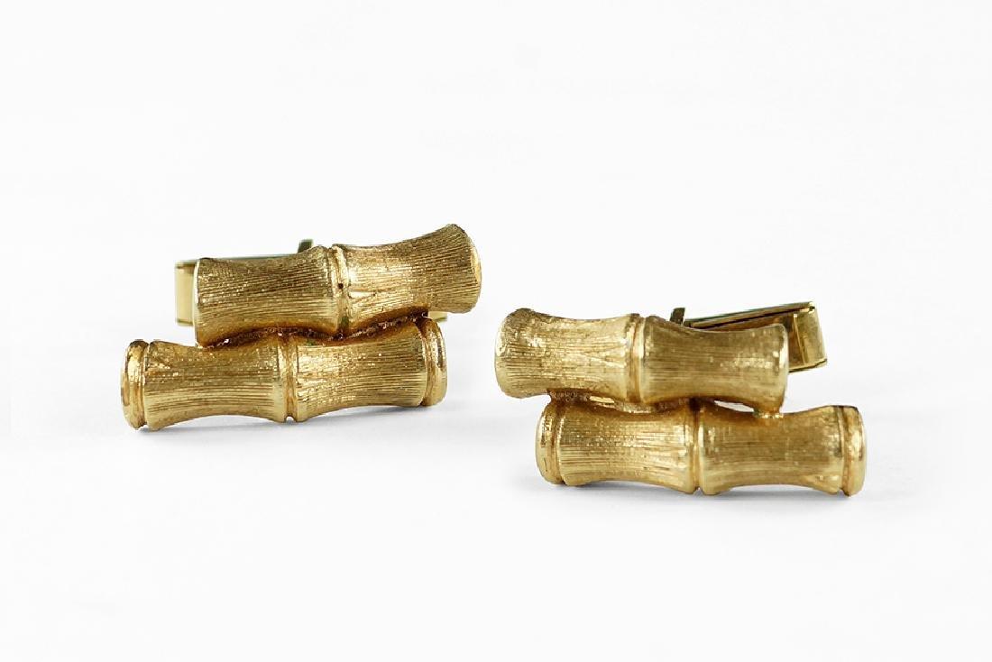 A Pair of 14 Karat Yellow Gold Bamboo Cufflinks.