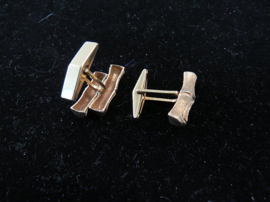 A Pair of 14 Karat Yellow Gold Bamboo Cufflinks. - 2