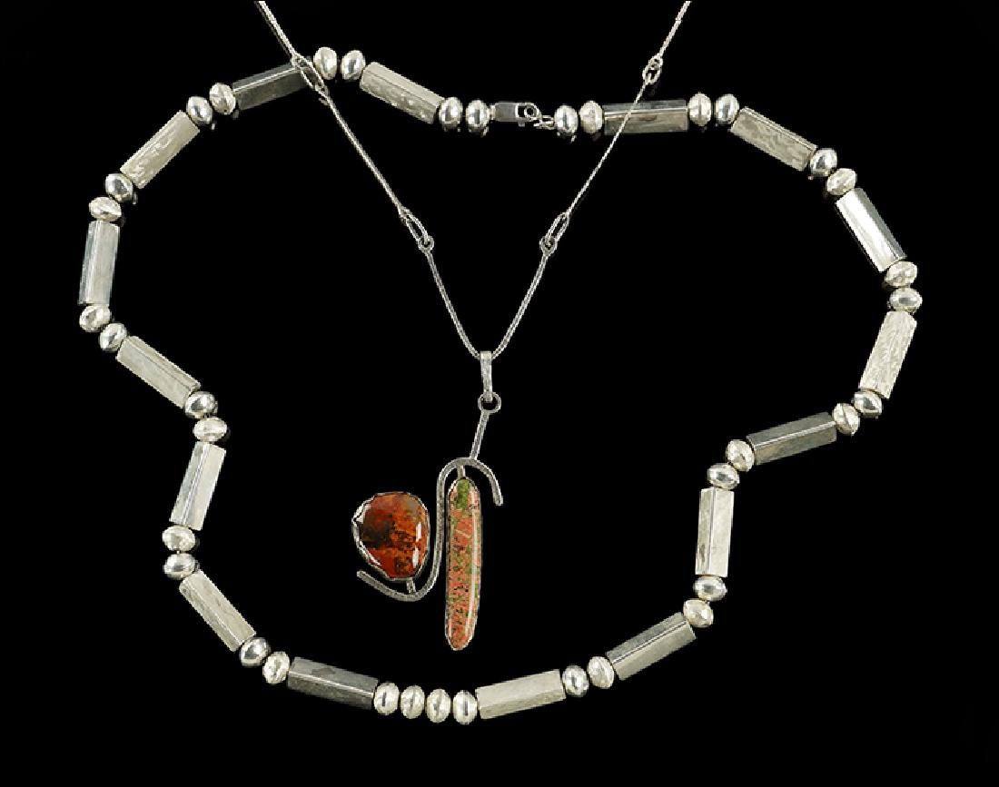 A Modernist Sterling Silver and Jasper Necklace.