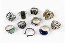 Ten Sterling Silver Modernist Rings.