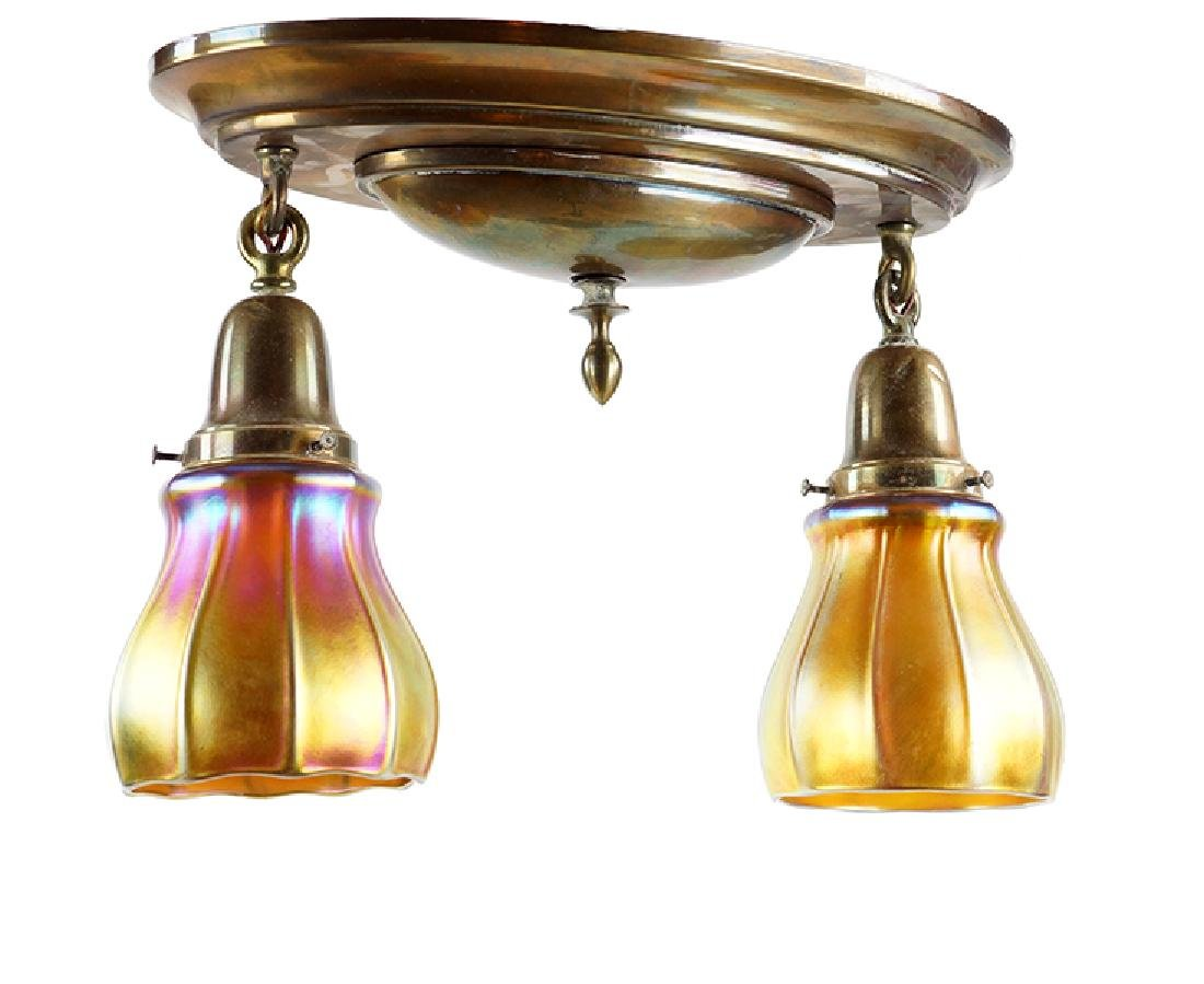 A Pair of Two-Light Ceiling Fixtures.