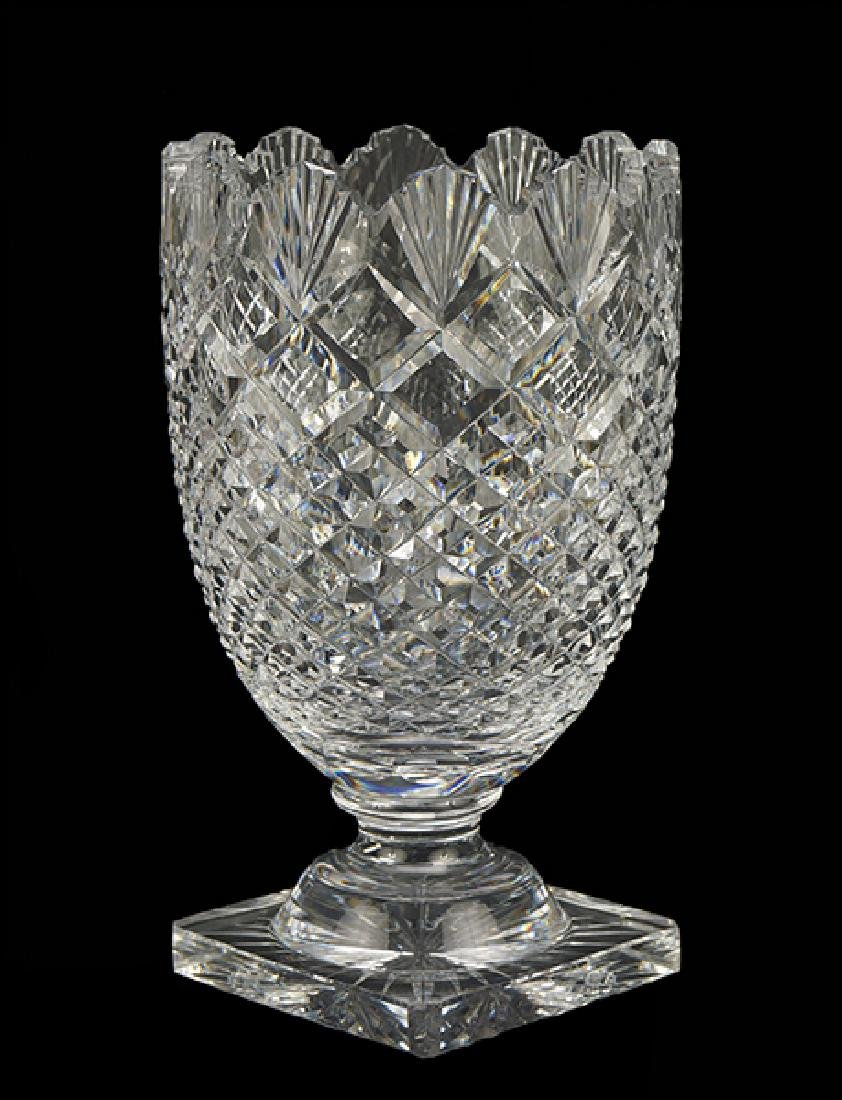 A Waterford Brilliant Cut Crystal Footed Vase.