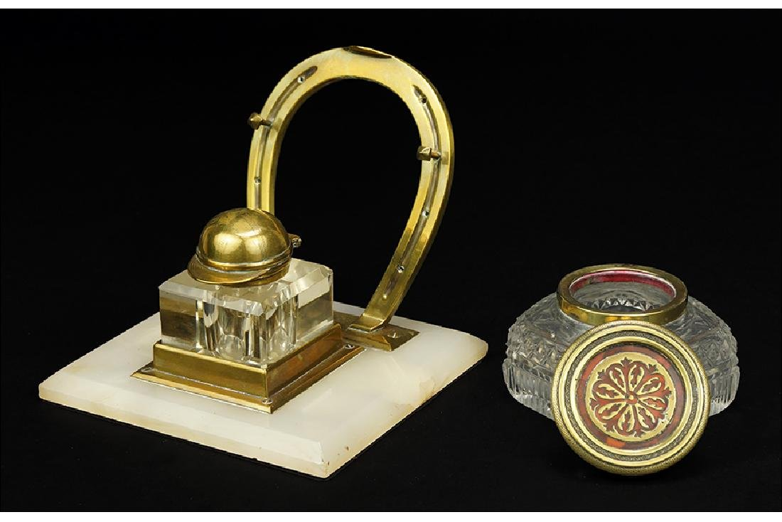A Brass Horseshoe Form Inkwell.