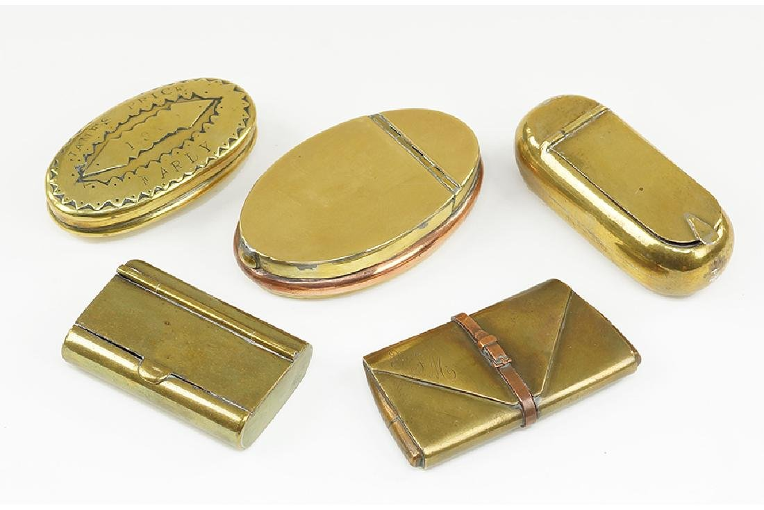A Group Of Four Brass Boxes.
