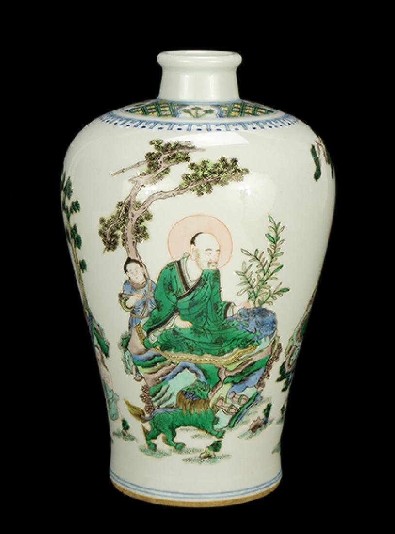A Chinese Famille Verte Porcelain Meiping Vase.