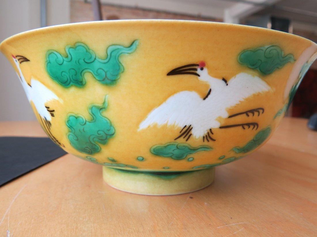 A Chinese Porcelain 'Crane' Bowl. - 7