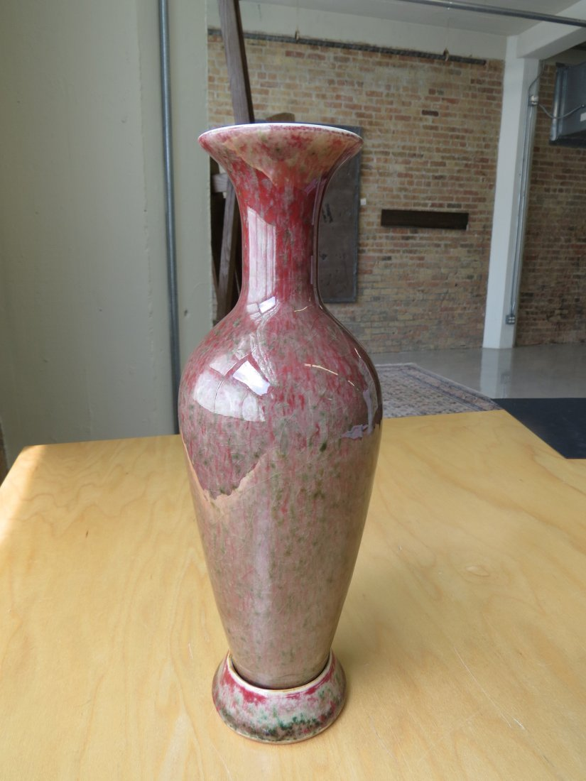 A Chinese Peach Bloom Glazed Amphora Vase with Stand. - 2