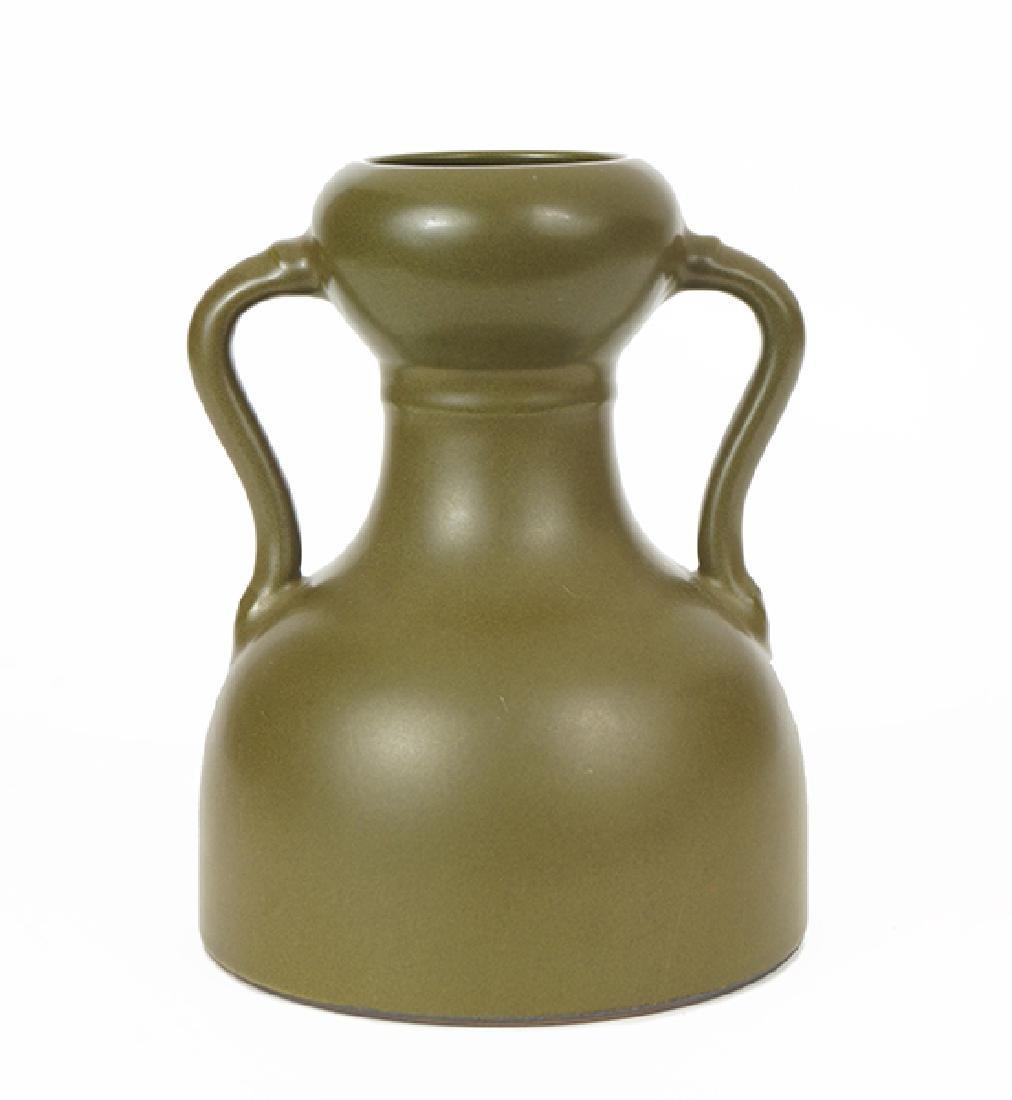 A Chinese Tea Dust Glazed Handled Vase.
