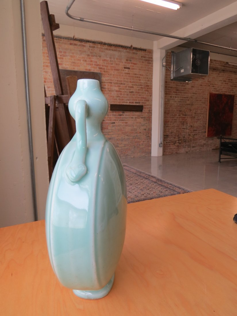 A Chinese Celadon Glazed Porcelain Moon Flask. - 3